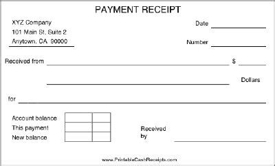 Layaway Receipt Template by A Basic Payment Receipt To Be Used By A Retail Store Or
