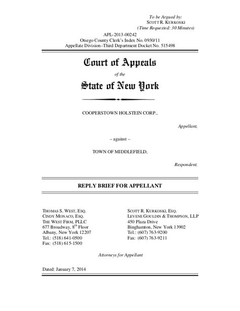 Appellate Brief Briefformat Ny Town Ban Court Cooperstown Holstein Appellate Reply Brief