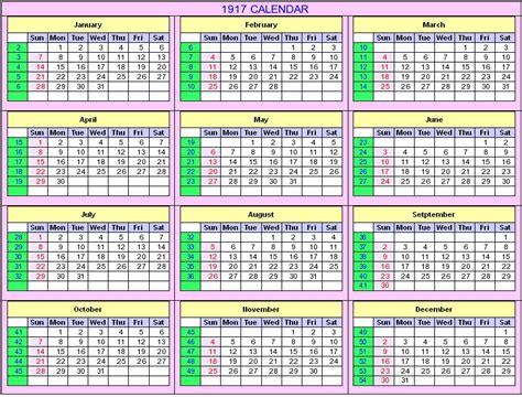 Calendario De 1917 1917 Calendar
