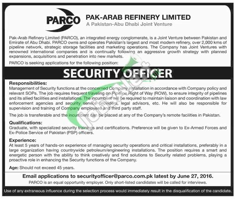 parco security officer 2016 apply advertisement