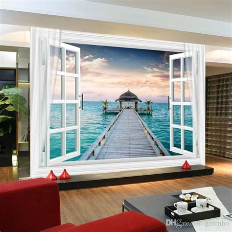 Nursery Wall Stickers Uk window 3d maldives large ocean view wall stickers art