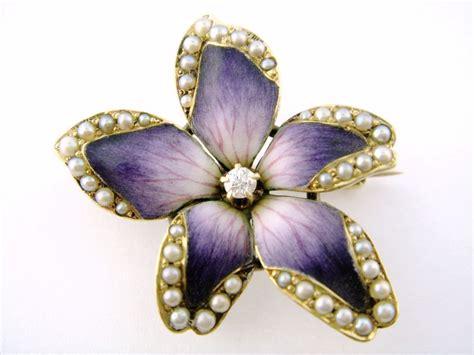 enamel flowers for jewelry nouveau crane theurer 14k enamel enameled pearl violet
