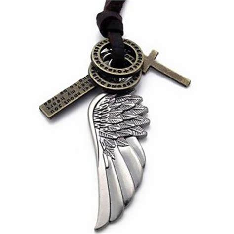 JewelryWe Bijoux Pendentif Collier Homme Chaîne Cuir (Réglable) Plume Aile Ange Croix Cuir pour