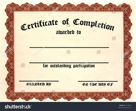 certificate completion customizable fill blanks stock