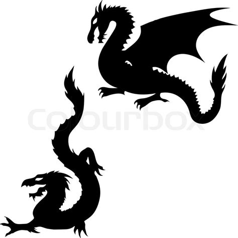 two dragon silhouettes stock vector colourbox