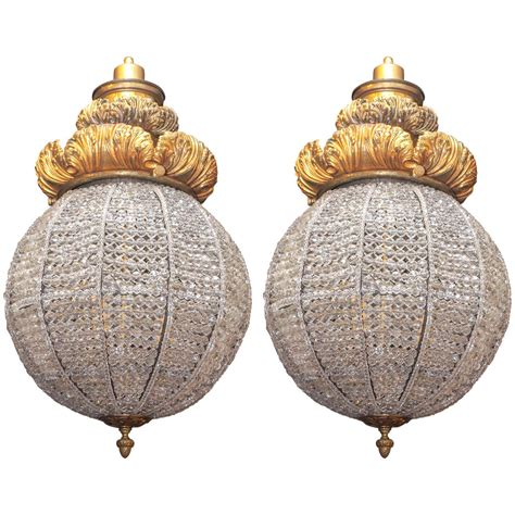 Pair Of Gilt Bronze And Crystal Bead Sphere Light Fixtures Sphere Light Fixtures