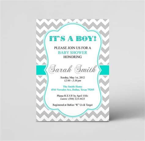 Baby Shower Diy Invitations by Grey Turquoise Chevron Baby Boy Shower Invitation Diy