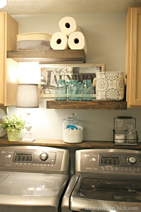 laundry with shelves diy wood shelving laundry storage from thrifty decor