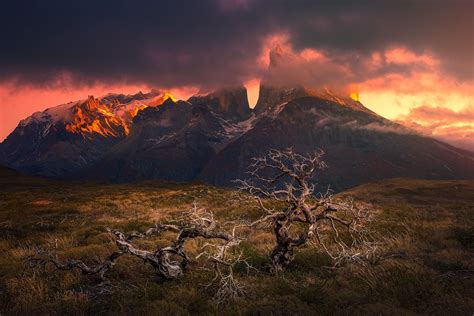 mountain sunset torres del paine patagonia chile dead