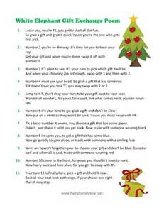 White elephant gift exchange poem game christmas games amp activites