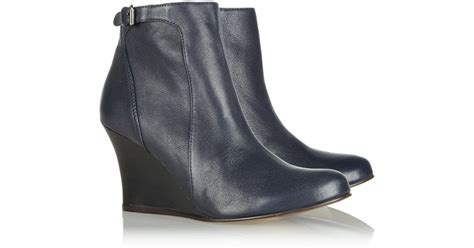 lanvin buckled leather wedge boots in blue lyst