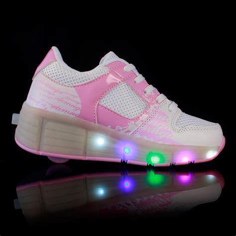 wheels light up shoes led light up shoes with wheels white pink grey cheap sale