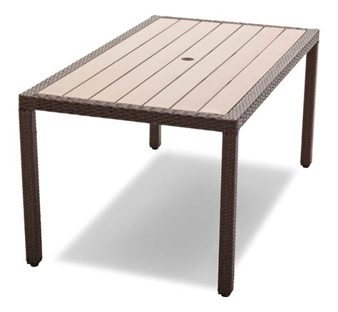 Outside Patio Tables Strathwood Griffen All Weather Wicker And Resin Dining Table Brown Patio