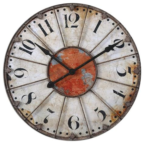 Home Decor Wall Clocks | rustic crackle face oversize wall clock transitional
