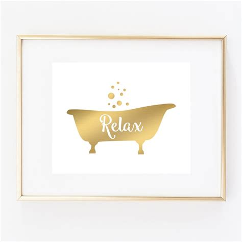 etsy bathroom wall art bathtub art print bathroom wall decor relax art faux gold