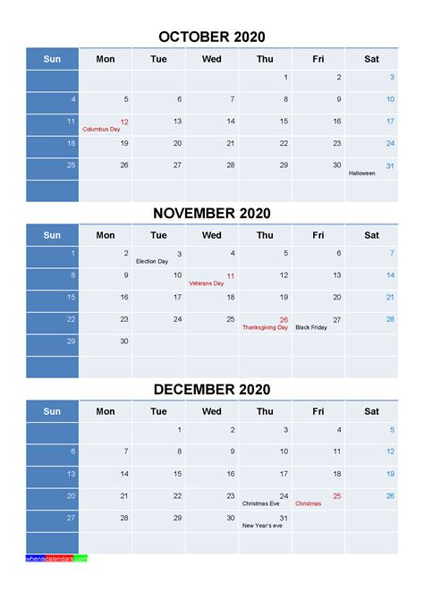 printable october november december  calendar template