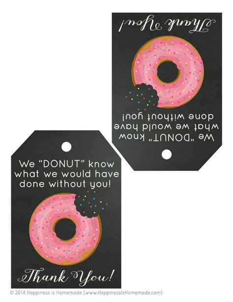 Alternative Valentines Gifts free printable donut thank you gift tags happiness is