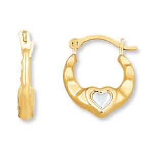 Children S 14k Gold Earrings Kay Children S Hoop Earrings 14k Two Tone Gold