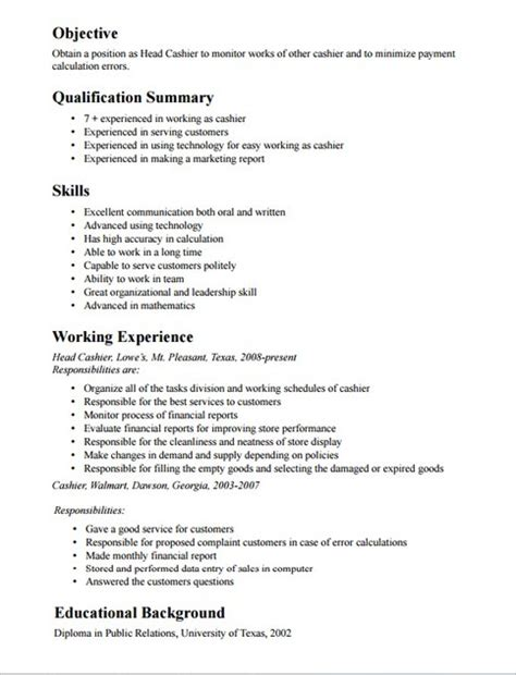 cashier resume sle responsibilities cashier resume description musiccityspiritsandcocktail
