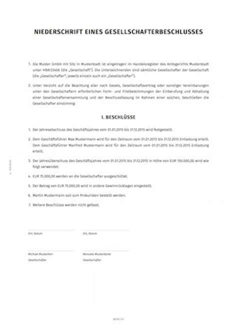 Muster Jahresabschluss Gesellschafterbeschluss Zum Jahresabschluss Smartlaw