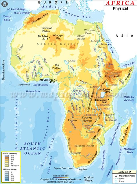 africa map features africa physical map world geography africa