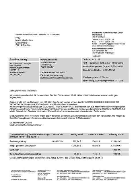Muster Mahnung Restbetrag Musterrechnung Gas Stadtwerke M 252 Llheim Staufen