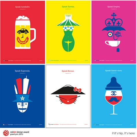 Country Home Interior Designs award winning pictogram poster series promotes lingua
