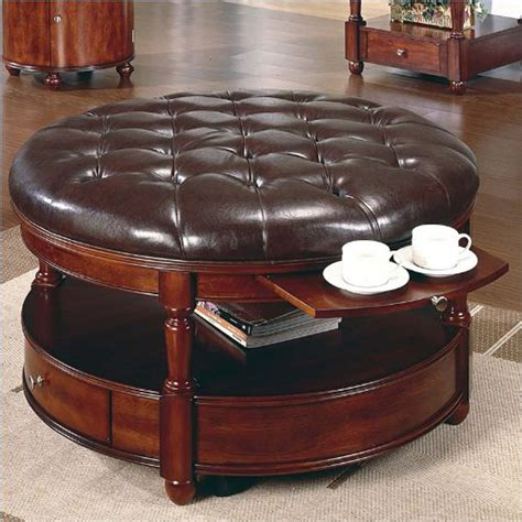 Classic And Vintage Round Tufted Ottoman Coffee Table With Leather Coffee Table Ottomans