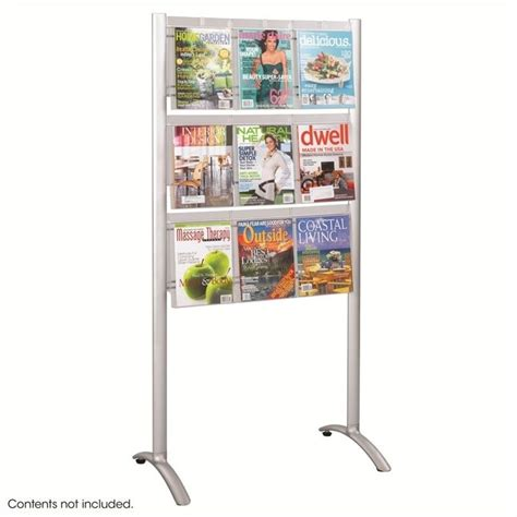 9 pocket magazine floor rack in silver 4135sl