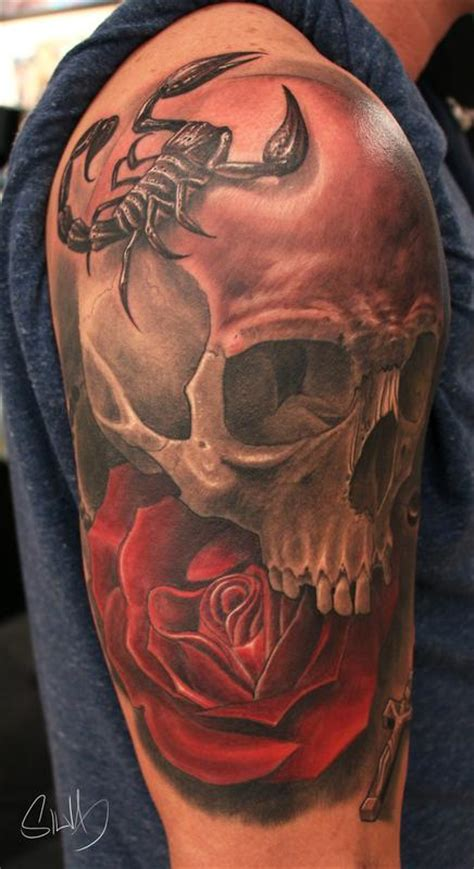 scorpion with rose tattoo custome skull scorpion by marvin silva tattoos