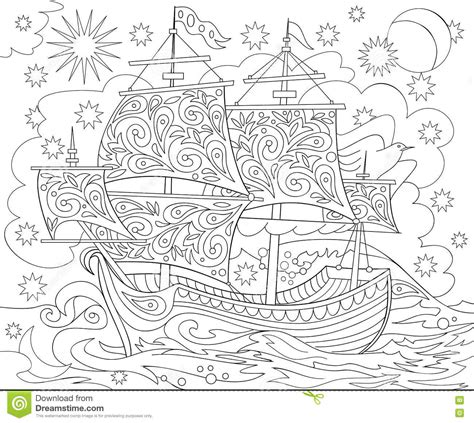 odyssey coloring book a sea coloring journey books page with black and white illustration of