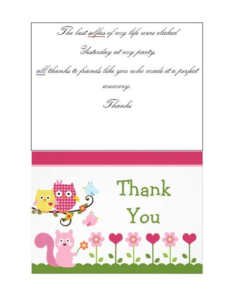 template for thank you card birthdays 30 free printable thank you card templates wedding