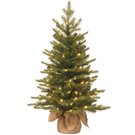 walmart real christmas trees national tree pre lit 3 feel real nordic spruce small artificial tree in burlap with