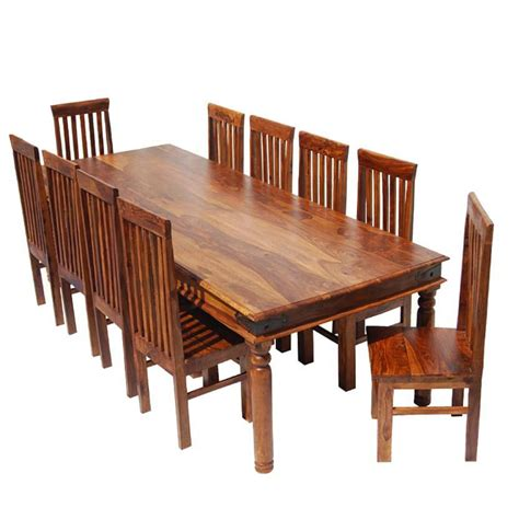 Rustic Dining Room Table Set Rustic Lincoln Study Large Dining Room Table Chair Set For 10