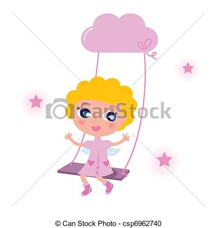 swinging on a star cartoon vector clipart of cute little angel child isolated on