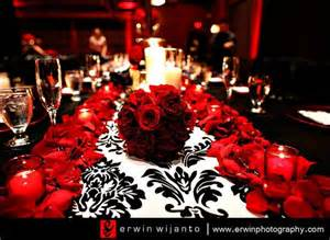 Reception red black damask tablescape wedding day pins you re