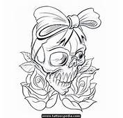 Rose Flowers And Skull With Bow Tattoo Design