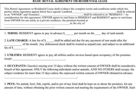 blank rental agreement south africa rent and lease template download free premium