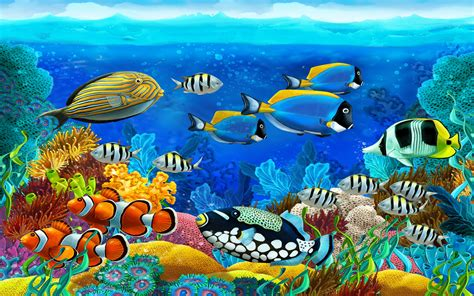 wallpaper colorful fish and interactive water ocean marine animals barrier reef tropical colorful fish