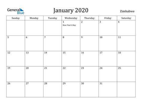 january  calendar zimbabwe