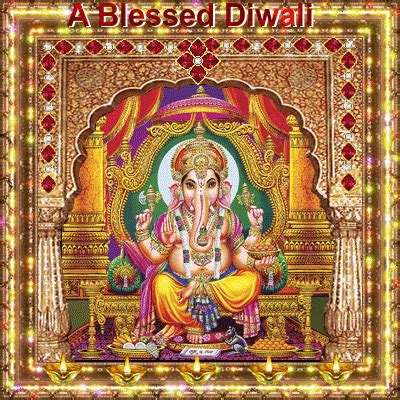 lord ganesha blesses   happy diwali wishes ecards
