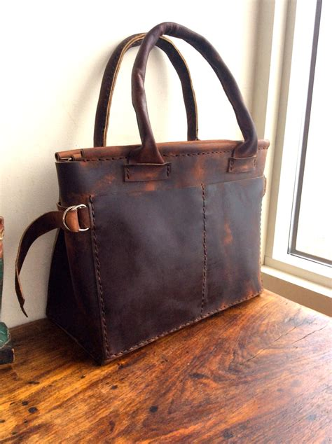 Handmade Leather Totes - womens computer tote custom personalized tote bag womens
