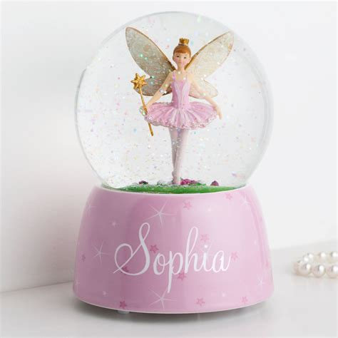 personalized ballerina fairy musical water globe