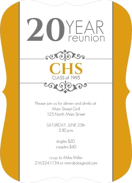 Classic Colors 20 Year Class Reunion Invitation Reunion Invitations Class Invitation Template