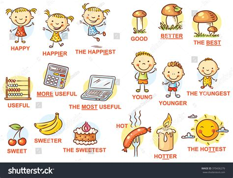 compare colors degrees of comparison of adjectives in pictures colorful