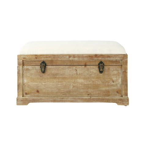 Storage Chest Bench Wood And Cotton Bench With Storage Chest W 81cm Cascabel Maisons Du Monde