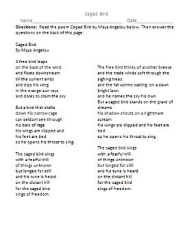 I Why The Caged Bird Sings Worksheet by Caged Bird Poem And Discussion Questions Poem By
