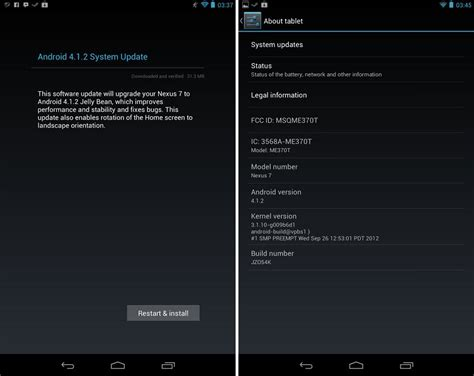 android 4 1 2 update android 4 1 2 ota update brings landscape mode to nexus 7 rolling out now the android soul