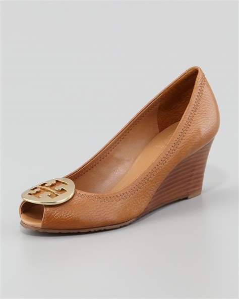 Heels Toryburch Import 2 burch sally 2 leather wedge in brown lyst