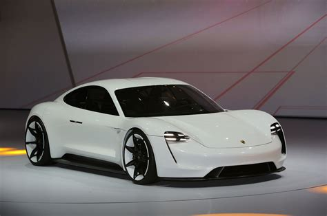 porsche mission e red porsche mission e concept ev arrives in frankfurt with 600 hp
